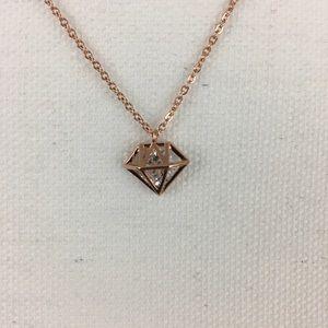 Jewelry - Diamond Shaped Cage Pendant Rose Gold